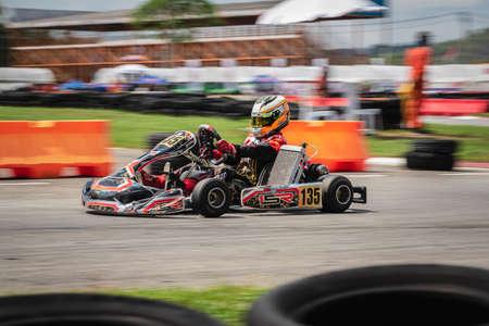 "PATTATA, THAILAND-26 MEI: Go Kart-rijtraining en racen in stijl. in ""IAME Series Asia 2019"" bira circuitrace pattaya op 26 mei 2019 IN THAILAND."