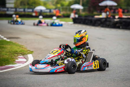 """PATTATA,THAILAND-MAY 26: Go Kart driving training and racing in style. in """"IAME Series Asia 2019"""" bira circuit race pattaya on May 26,2019 IN THAILAND. Redactioneel"""