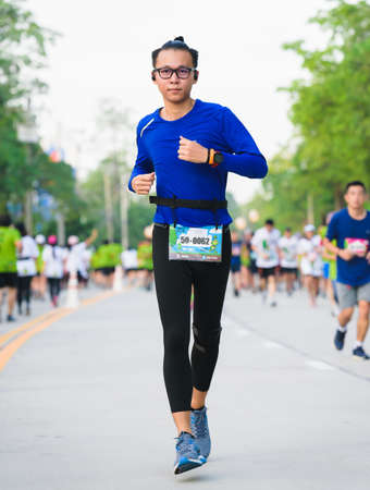 "Nonthaburi,THAILAND-October 14,2018:People came running to compete with looks happy and relaxed in""Green Running Design ASA RUN 2018""at Ministry of public health Nonthaburi on October,14,2018:THAILAND"