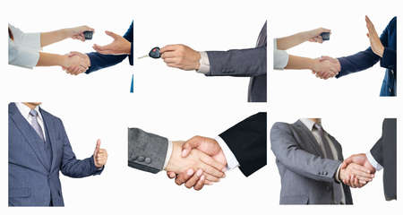 Set asian business holding the key of the car has agreed to give the customer and handshake agree to join the business.On a white background isolated.