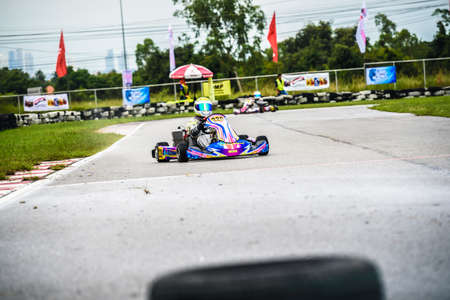 PATTATA,THAILAND-Augus 17: Go Kart  driving racing training  very determined in bira circuit race pattaya on Augus 17,2019 IN THAILAND.