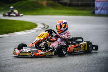 PATTATA,THAILAND-Augus 17: Go Kart driving racing training very determined in bira circuit race pattaya on Augus 17,2019 IN THAILAND. Sajtókép