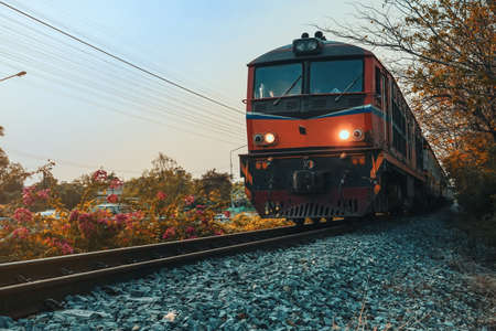 The old train that runs on the rail that is commonly seen in Thailand.     Stockfoto