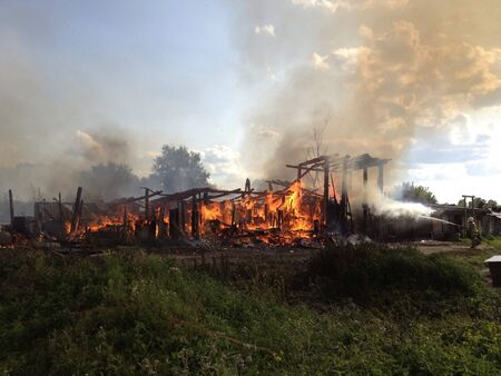 Strong fire outside the city