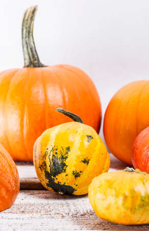 pumpkins on a white, wooden table