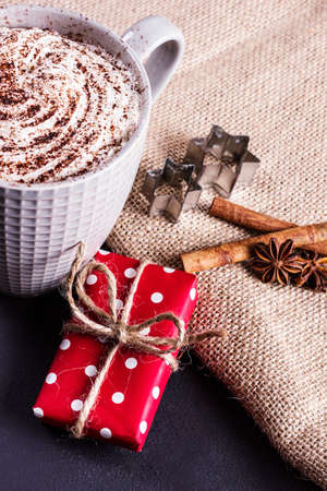 baileys: Christmas chocolate, presents on a linen background