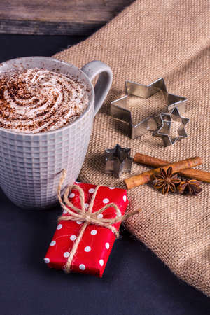 Hot Cocoa, Christmas Present, Cinnamon And Anise On A Linen ...