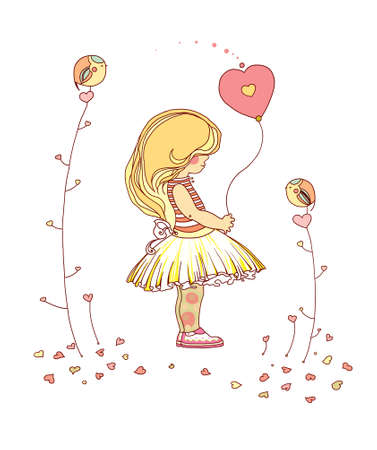 Little girl with a balloon  Raster an illustration