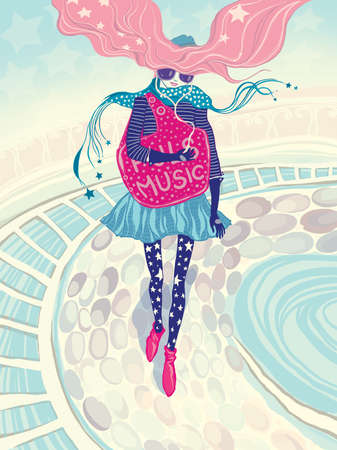 The girl walks on a city and listens to music  Raster an illustration Stock Illustration - 14851021