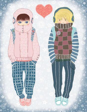 Meeting  Young loving couple  Raster illustration  illustration