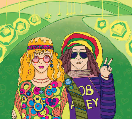 Two Young Hippies  This image is a raster illustration Stock Photo
