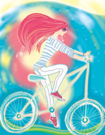 The girl and a bicycle  The sports, vigorous and cheerful girl, is engaged in productive leisure, making conducted - walk  Raster an illustration  Stock Photo