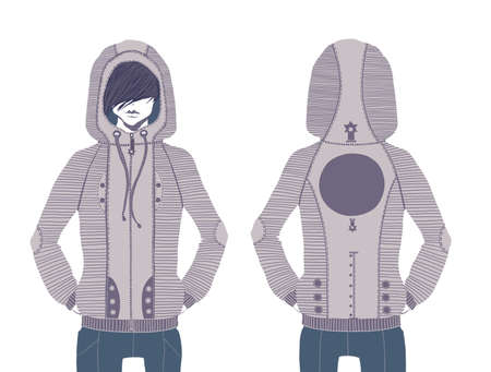 Design sweatshirt  The young modern guy dressed a fashionable youth gray jacket, and threw with a hood a head  This image is a raster illustration