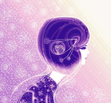 Girl, Japanese style  Raster illustration