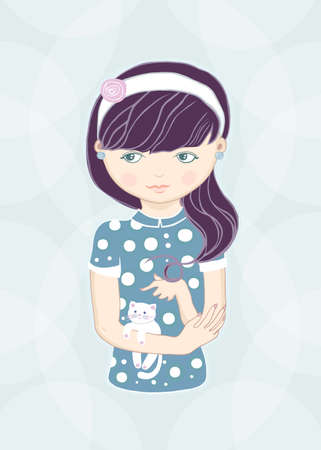 molly: girl and small white cat  raster illustration   Stock Photo