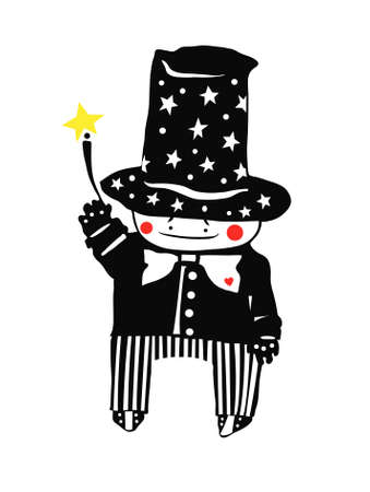 execute: Small magician  execute of desire a magic wand  Illustration