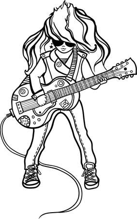 Girl the musician with a guitar   Vector