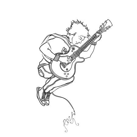 punk hair: The musician plays a guitar in a jump   Illustration
