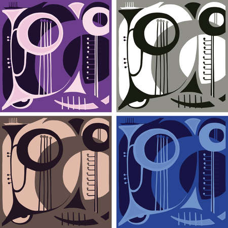 Music wind instruments abstraction  Vector
