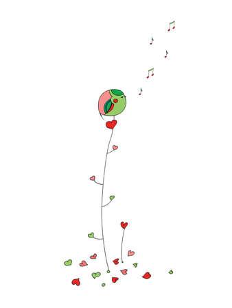 Birdie on a branch   Illustration
