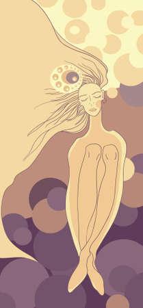 The gentle girl, dreams illustration Stock Vector - 15807217