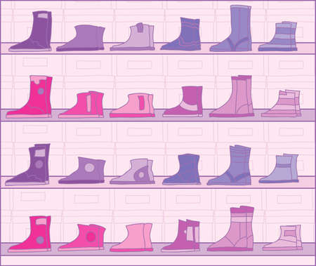 Boots on racks   Stock Vector - 15807224
