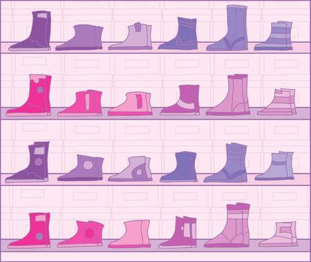 Boots on racks Stock Vector - 15807224