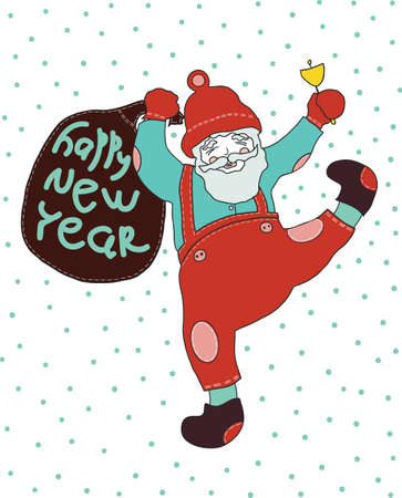 New year. Cheerful Santa Claus celebrates new year. he calls in a hand bell and bears gifts Illustration