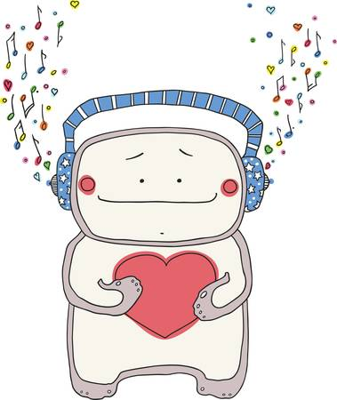 Cheerful little man in earphones, has control over a heart and listens to music  Illustration