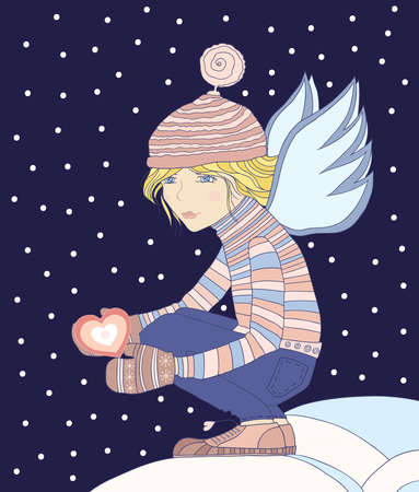 warmly: Young girl - an angel, holds a heart in a hand  Illustration