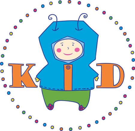 vector illustration, boy and inscription Kid  logo  Stock Vector - 17017584