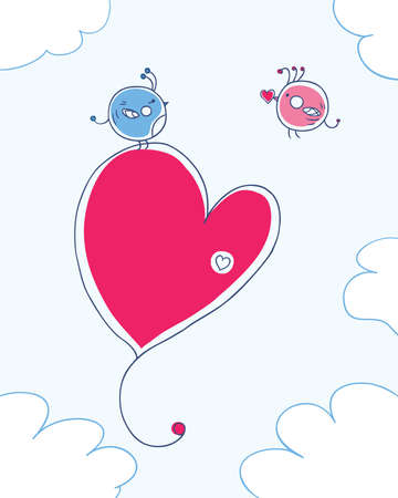 image of two birds in love  declaration of love