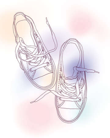 lacing sneakers: outline drawing of sports shoes  Stock Photo