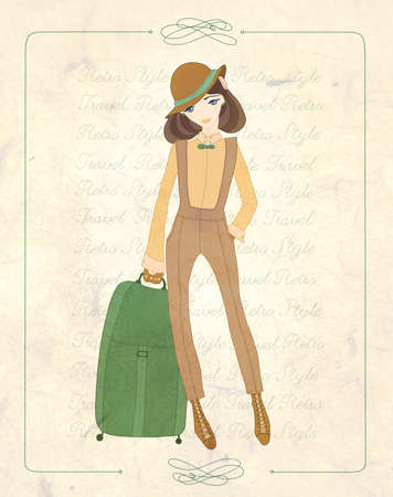 vintage fashion postcard  the young beautiful girl gathered in travel Stock Photo - 17714599