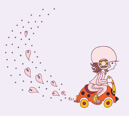 cute little girl goes on a child Vector