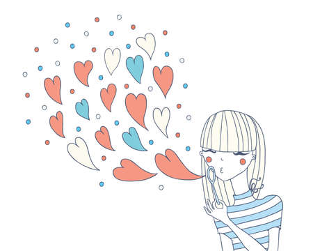 young girl in love inflates soap bubbles  Illustration