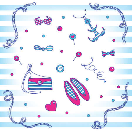 Set fashion accessories  in a marine style  Vector