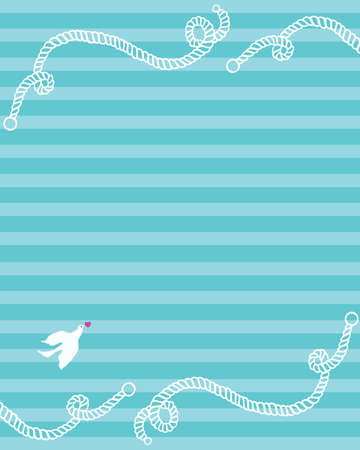 background in sea style  pigeon and heart on a striped background