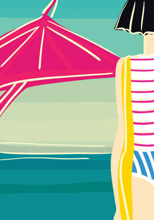 came: slender young girl came to a beach   vector illustration   Illustration