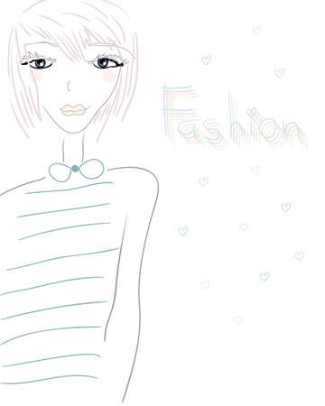 fashionable young modern girl illustration