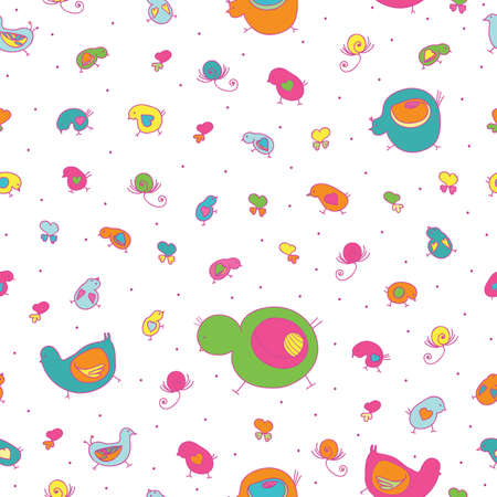 seamless pattern-chickens and ducklings image  Vector