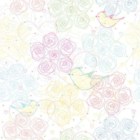 air seamless floral print with birds  vector print  Illustration