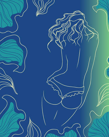 passionate erotic woman, against the background of a tropical leaf  vector illustration  Illustration