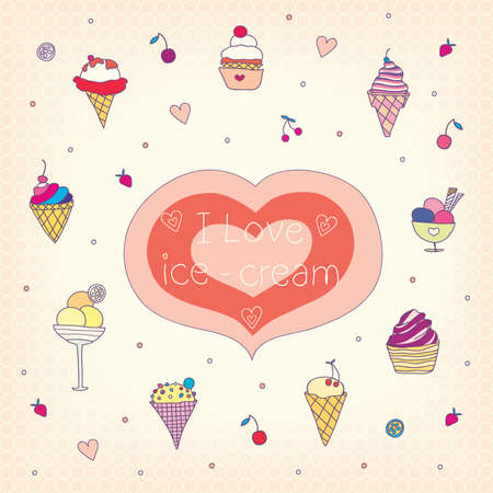 set of various tasty ice-cream. vector illustration. Vector