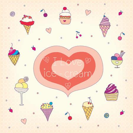 set of various tasty ice-cream. vector illustration.