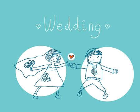 rejoicing: Giovane bella coppia sposata. illustrazione vettoriale.