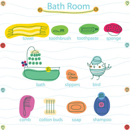 vector set on bathing accessories. For studying of English words. Illustration