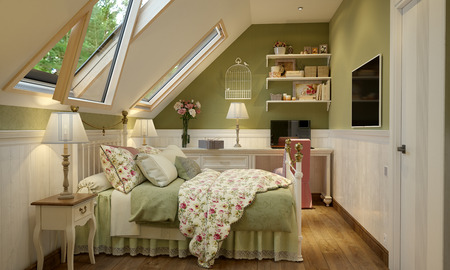 interior of the bedroom in the Provence style green with white furniture