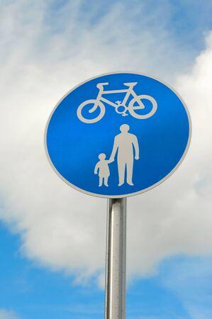 Bikes and Pedestrians path signal. High quality photo