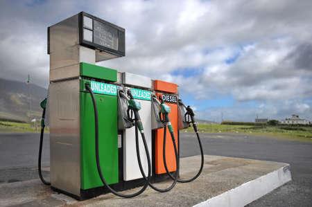 Ireland, Achill Island, Aug 20th 2010 Vintage fuel dispenser with irish colors
